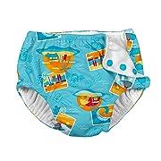 i play Snap Reusable Absorbent Swimsuit Diaper,Aqua Surf Sunset,18mo