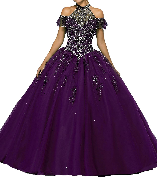 Purple PuTao Women's Off The Shoulder Beaded Sweet 15 Father Dance Quinceanera Dresses