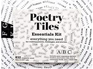 Poetry Tiles - 832 Fridge Word Magnets - Essential Words Starter Kit for Refrigerator Poems and Stories - Includes Alphabet Headers