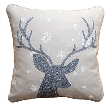 Kissenhülle 40 Cm X 40 Cm Weihnachten Grau Hirsch Silber Kissenbezug
