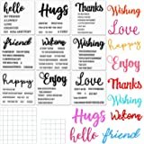 9 Pieces Warm Phrases Clear Stamps Hello Hugs Thanks Love Clear Crafts Stamps and 2 Pieces Acrylic Stamp Blocks Tools with Gr