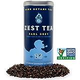 Zest Tea - Earl Grey Black High Caffeine Energy Tea, 16 Count Tea Sachets - Bergamot and Nilgiri Indian Black Tea in Premium Pyramid Bags