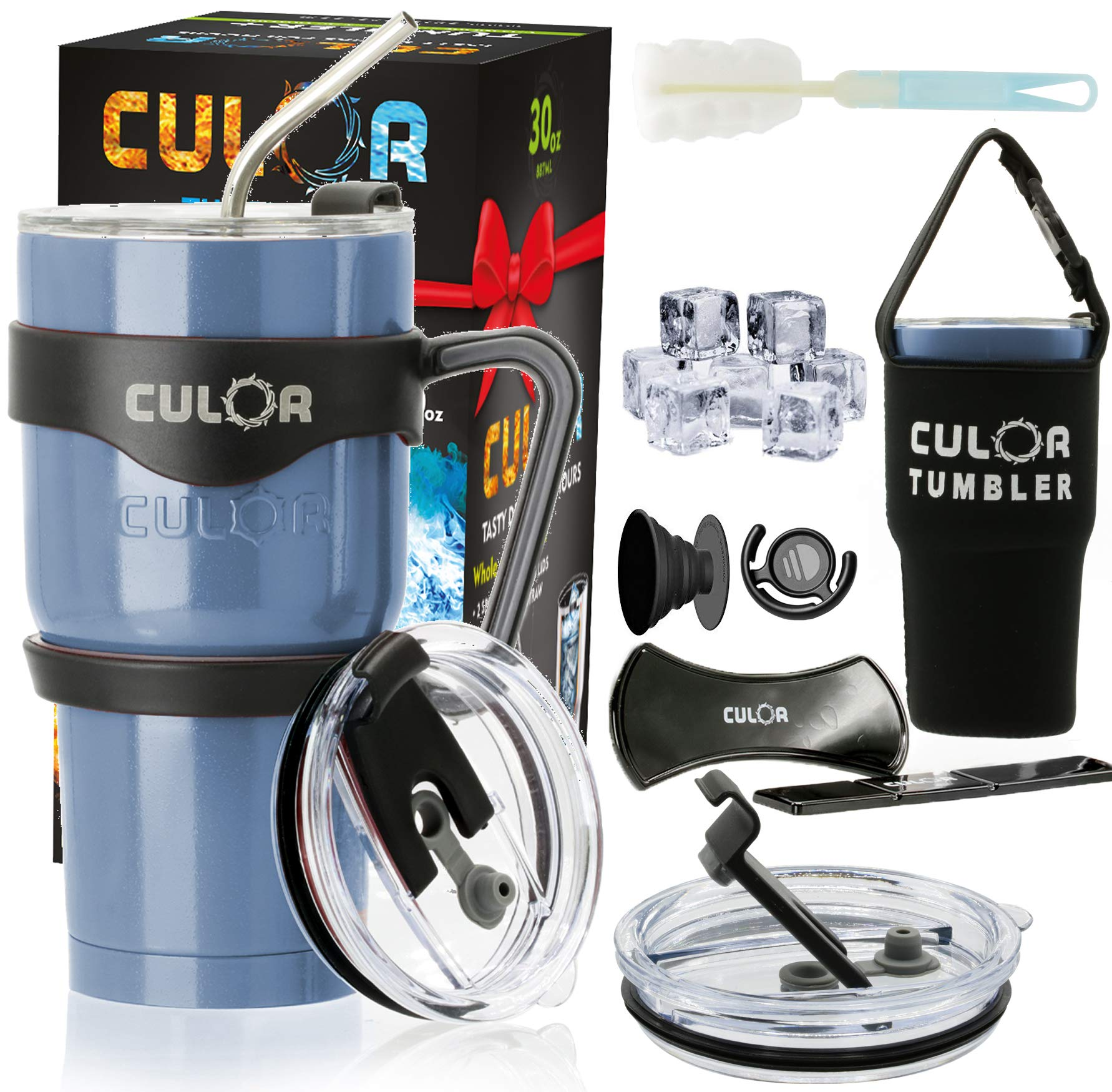 CULOR Stainless Steel Tumbler with Lid and Straw - Double Walled 30 Ounce Blue Arctic Cup, 15 Accessories - INCLUDES WINTER SET