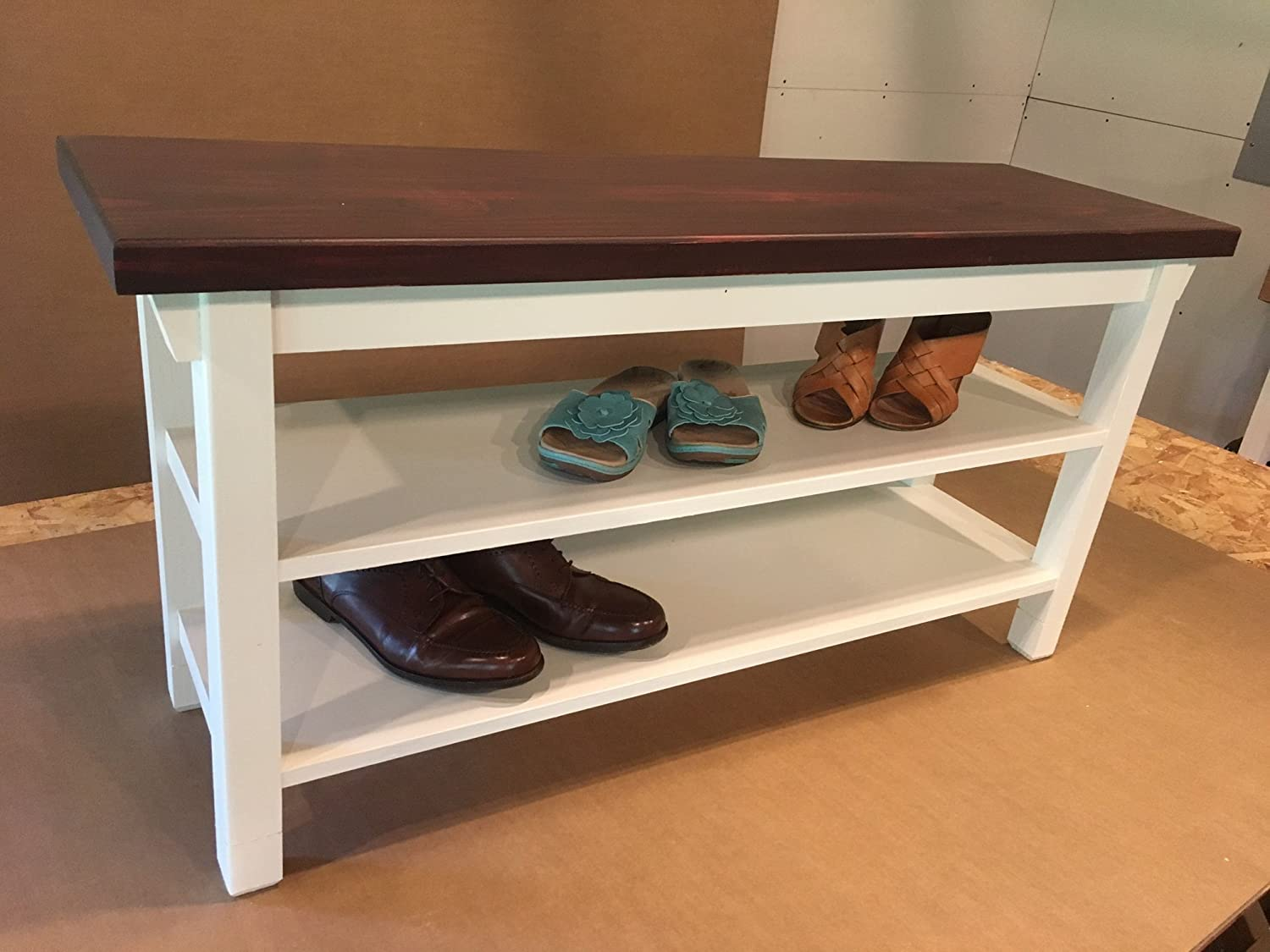 Hallway / Mud Room / Foyer Bench With Two Shoe Shelves In Your Choice Of Color And Size 24