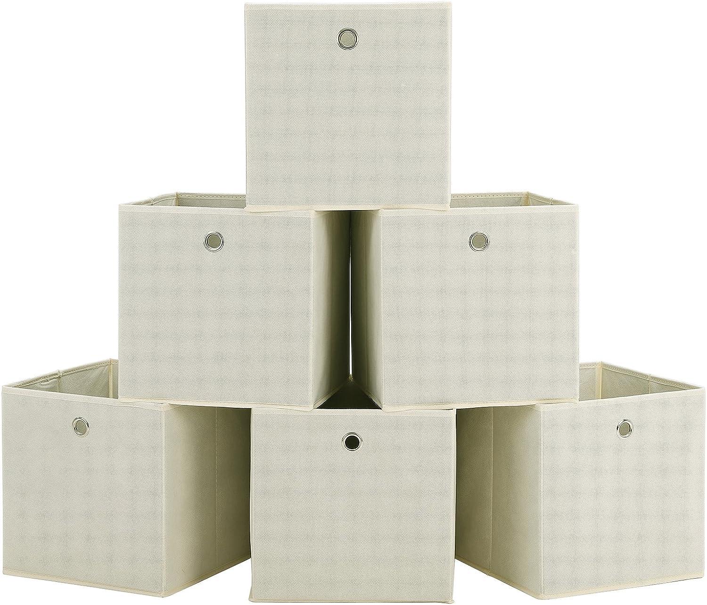 Homfa 6 Cajas Almacenamiento de Tela Plegables Cajas Organizadores de Cajones para Ropas Juguetes Beige 30x30x30cm