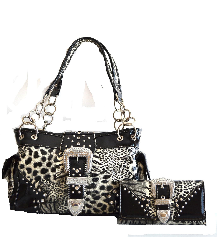13c13afdf0d0 Western Leopard Cheetah Animal Rhinestone Bel Buckle Stud Purse Set
