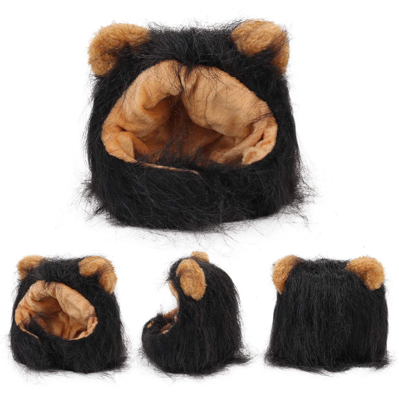 Legendog Lion Mane Wig for Cats, Cat Halloween Costume, Black Lion Mane, Cute Halloween Pet Apparel for Cats
