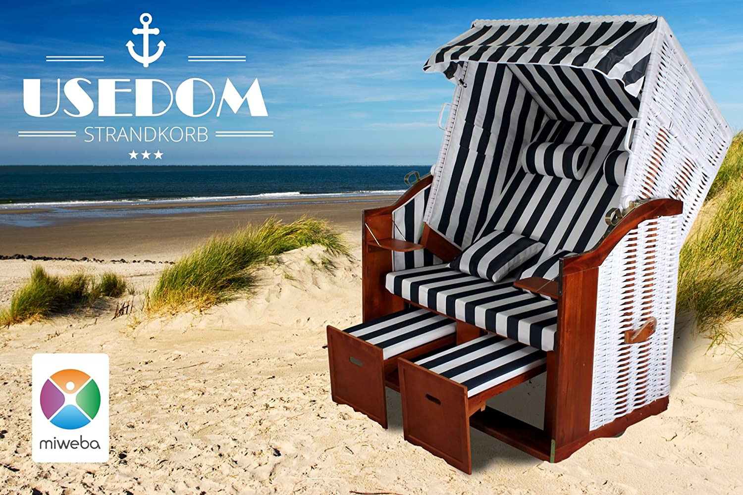 rattan strandkorb xl usedom miweba ostsee volllieger inklusive abdeckplane gartenm bel terasse. Black Bedroom Furniture Sets. Home Design Ideas