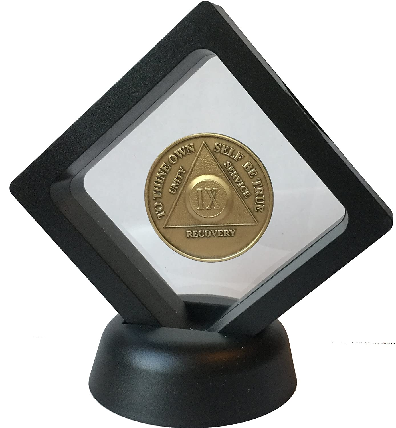 Black Diamond Square AA Medallion Challenge Coin Chip Display Stand Holder Magic Suspension Box Recoverychip
