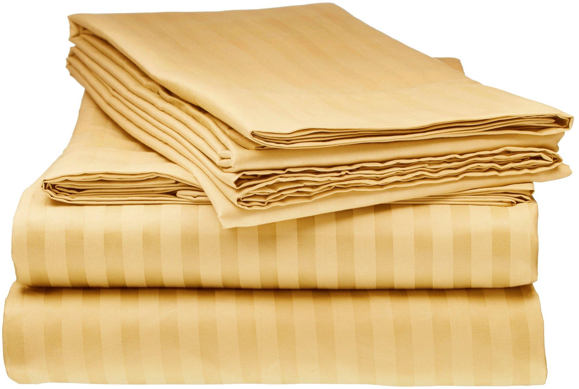 ITALIAN Prestige 4PC KING Striped Sheet Set, GOLD
