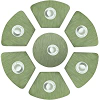 HEBE Wedge Placemats with Centerpiece Set of 7 for Round Table Heat Resistant Stain-Resistant Washable Vinyl Kitchen…