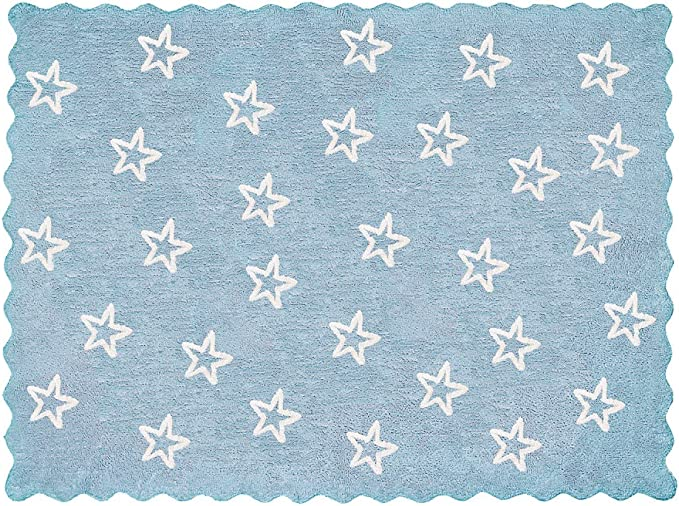 Lilipouce Alfombra Infantil algodón Estrellas Paris, Tela, Azul ...