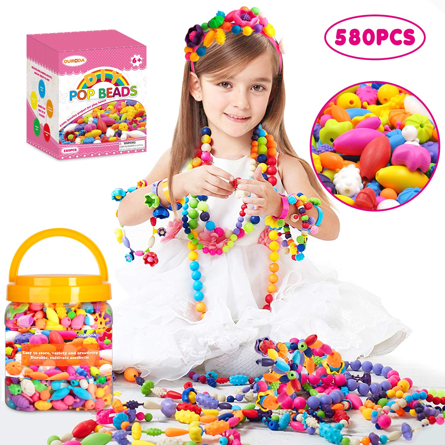 Oumoda Pop Beads Girls Toys 580 PCS DIY Jewelry Making Kit Kids Snap Beads Jewelry DIY Set Making Necklace Bracelet Ring Hairband and Earrings Art Craft Kits for 4 5 6 7 8 9 Years Old Girls