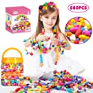 Oumoda Pop Beads Girls Toys 580 PCS DIY Jewelry Making Kit- Kids Snap Beads Jewelry DIY Set Making Necklace, Bracelet, Ring, Hairband and Earrings- Art Craft Kits for 4, 5, 6, 7, 8, 9 Years Old Girls