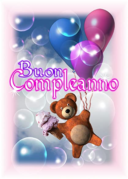 Amazon italian buon compleanno happy birthday balloon teddy italian buon compleanno happy birthday balloon teddy bear blank inside greeting card bookmarktalkfo