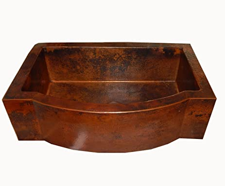 Apron Front Farmhouse Kitchen Single Bowl Mexican Hand Hammered Copper Sink