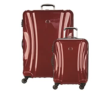 a07c665bf69 Amazon.com | DELSEY Paris Delsey Luggage Passenger Lite 2 Piece Hard Case  Set Carry On & Checked Spinner Suitcase Merlot Red | Luggage Sets
