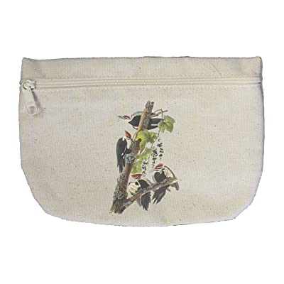Style in Print Pileated Woodpecker James Audubon Birds Canvas Pouch with Zipper, Makeup Bag