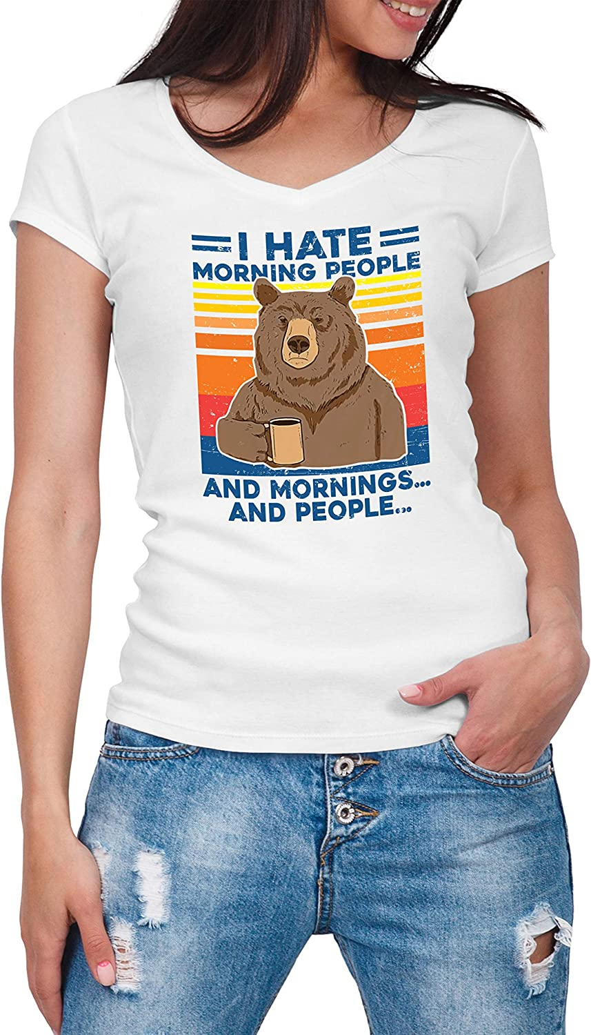 ZYDUVA Vintage Bear I Hate Morning People And Mornings And People Camisa con Cuello de Pico para Mujer