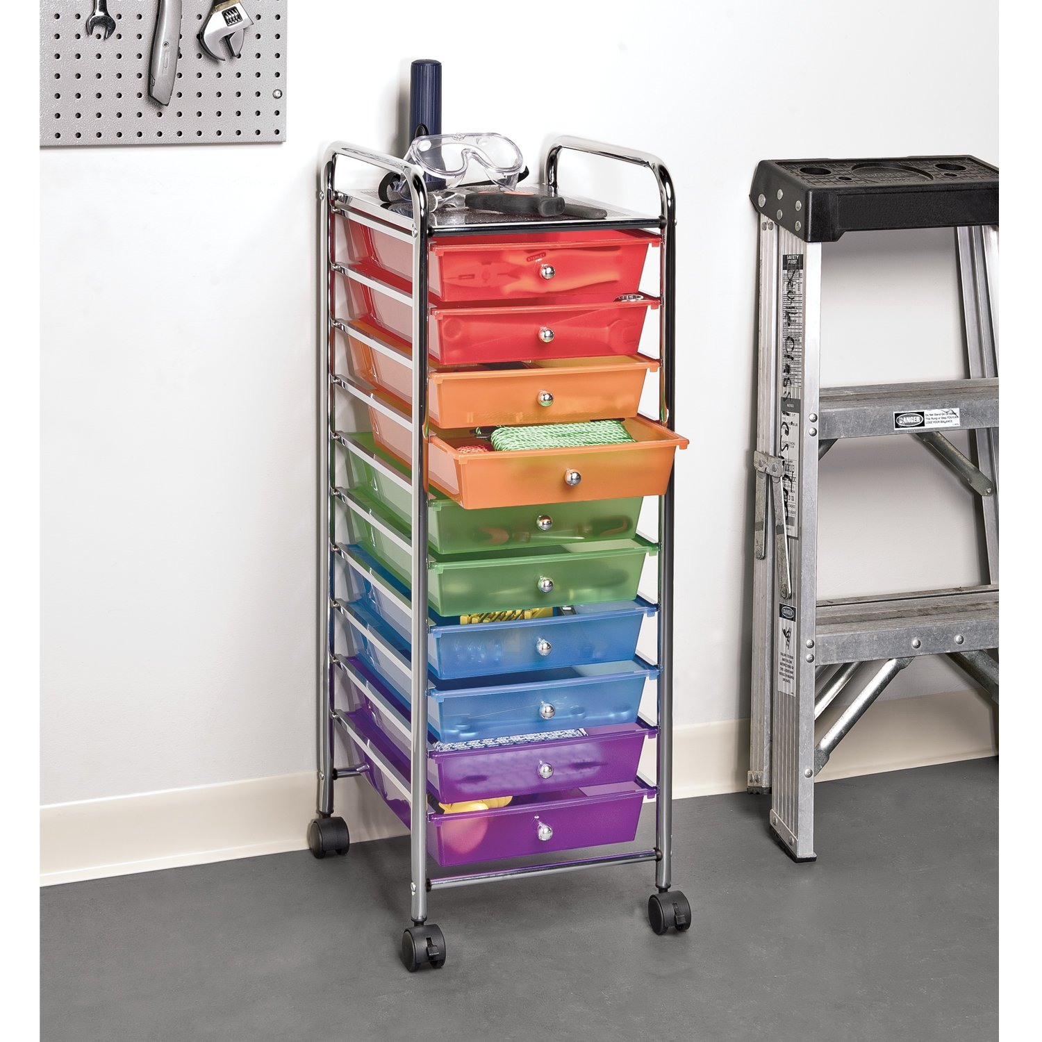 Amazon.com: Seville Classics 10-Drawer Organizer Cart, Multi Color: Home &  Kitchen