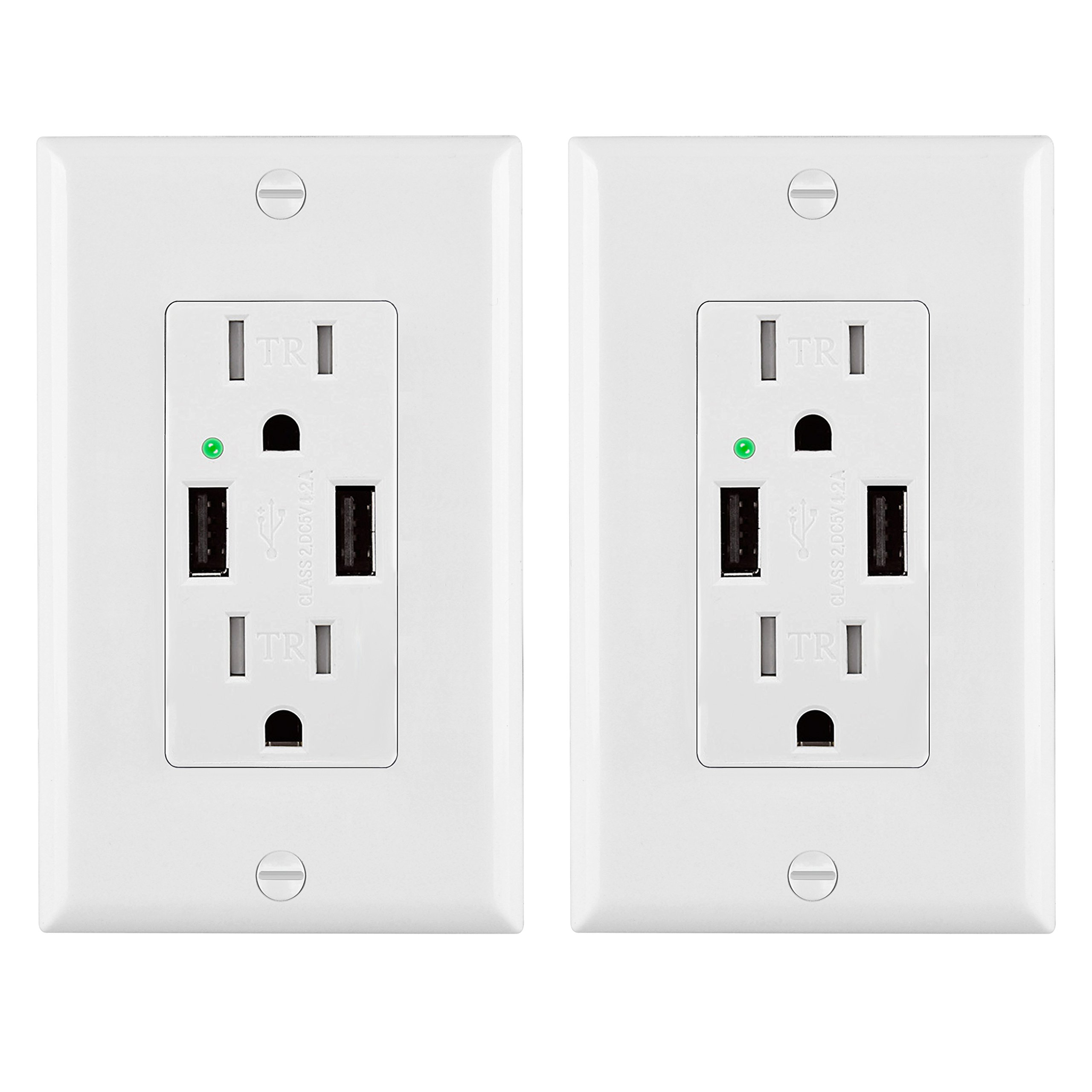 [2 Pack] BESTTEN Upgraded USB Wall Receptacle Outlet (15A/1875W) with 2 USB Chargers (4.2A Shared), Decorator Wall Plate Included, UL Certified, White
