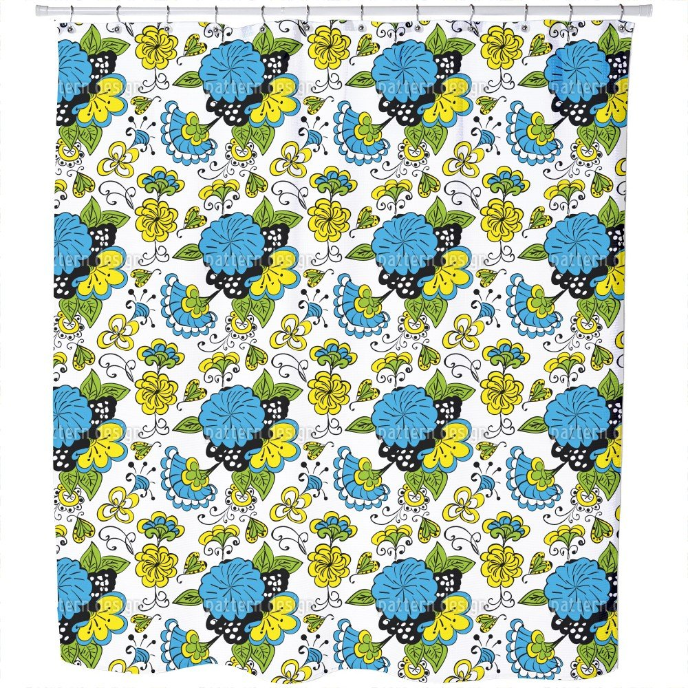 Uneekee Flower Doodle Shower Curtain: Large Waterproof Luxurious Bathroom Design Woven Fabric