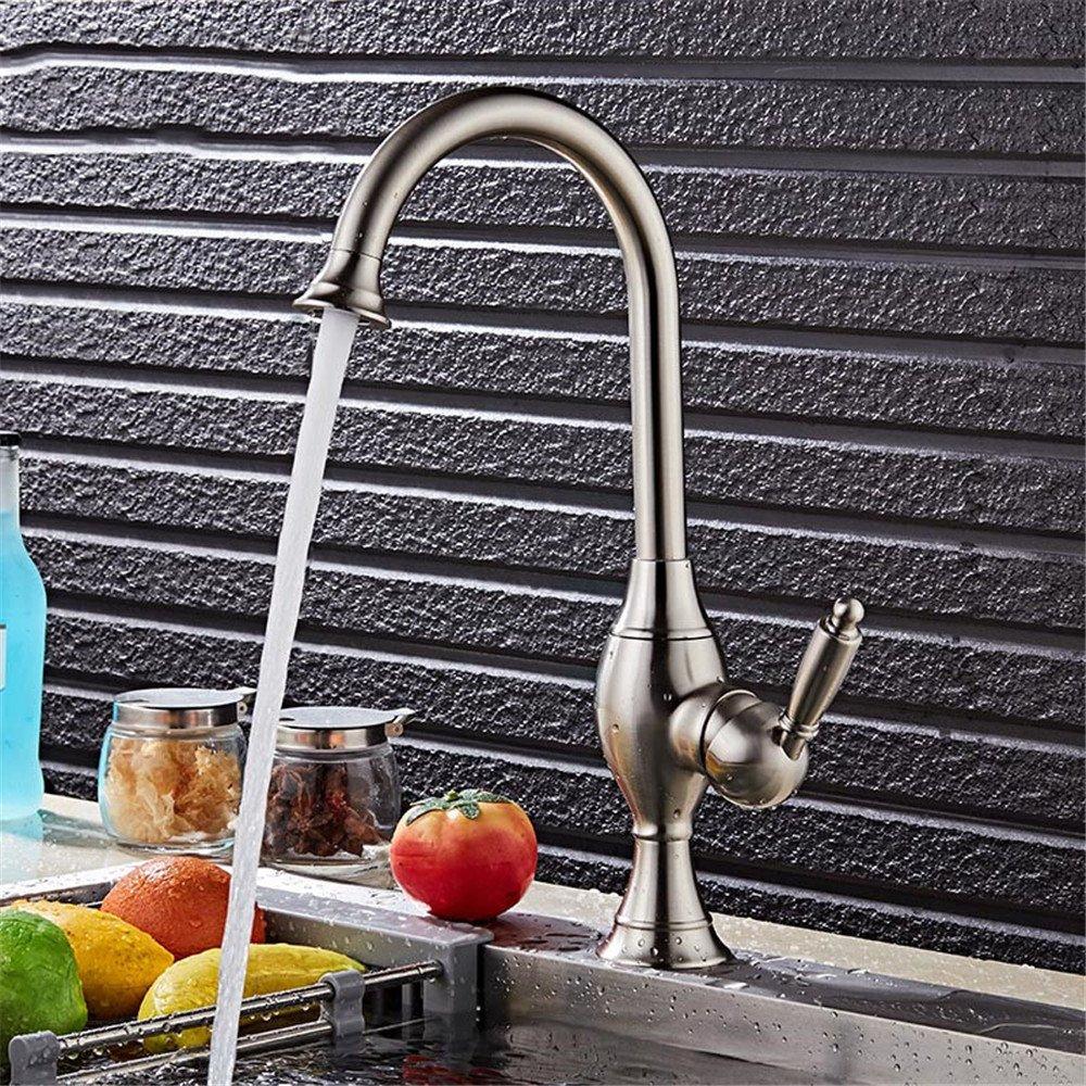 Continental gebürstet heiße und kalte rotation Mixer, Badezimmer Badezimmer Badezimmer Küche Küche Wasserhahn Einloch Waschbecken