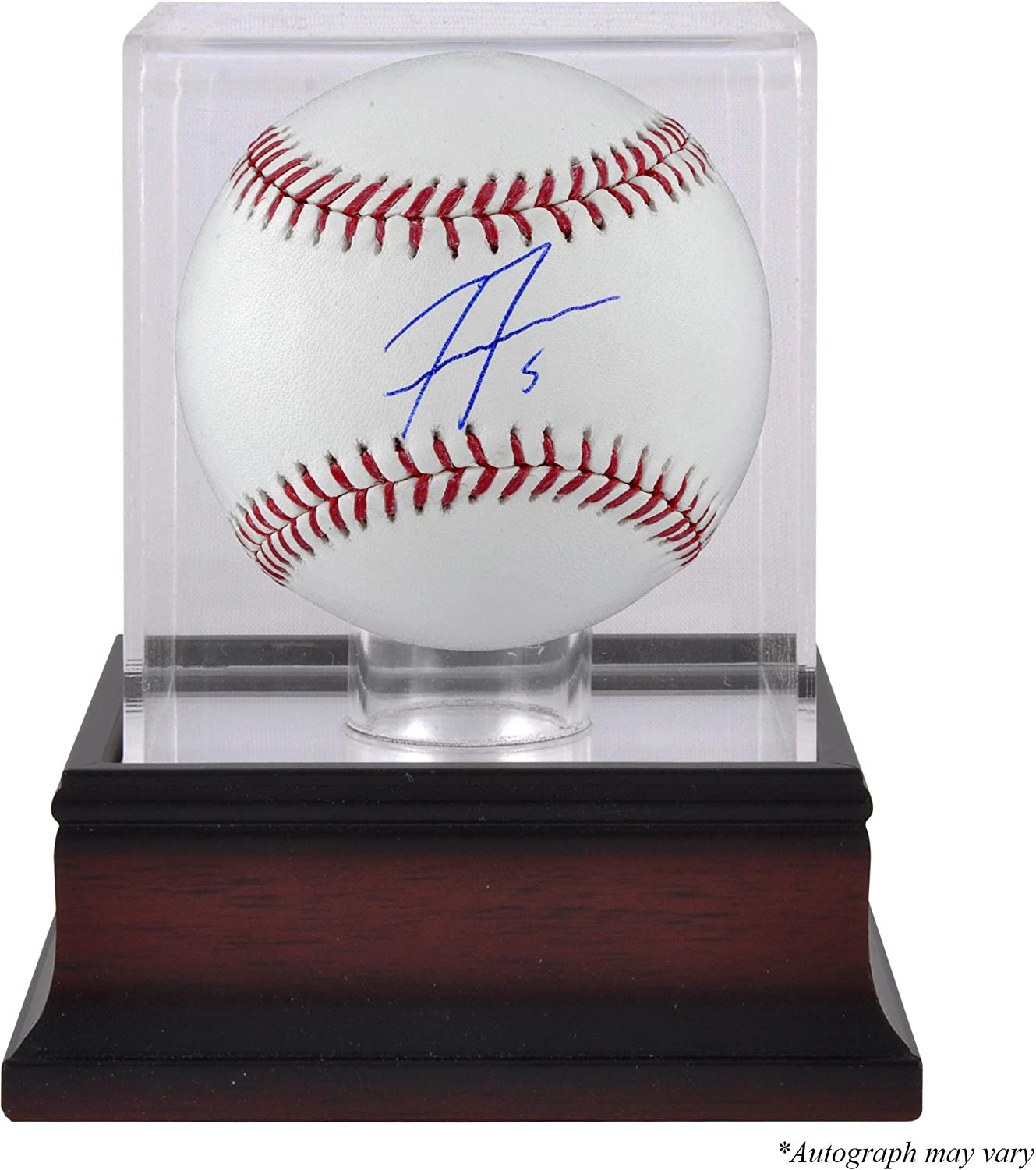 Freddie Freeman Atlanta Braves Autographed Baseball and Mahogany Baseball Display Case - Fanatics Authentic Certified