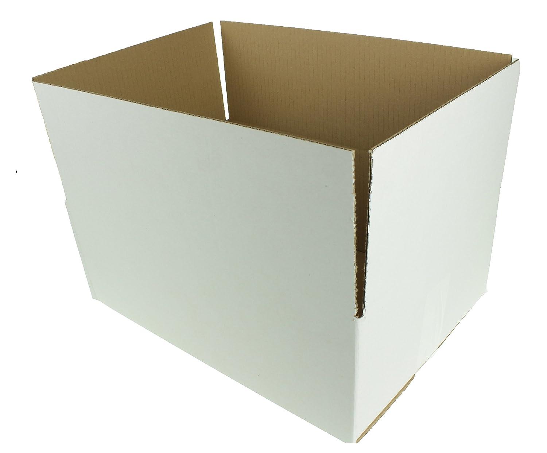 25 x Single Wall Folding Carton White Postal Box Shipping Boxes 390X270X140 MM Bylow24