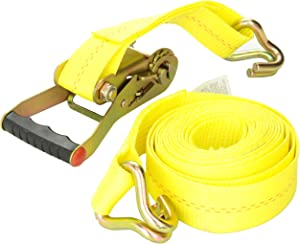 """KEEPER 04616 Heavy Duty 2"""" by 16' Ratcheting Tie Down, 10,000 lbs Rated Capacity with J-Hooks"""