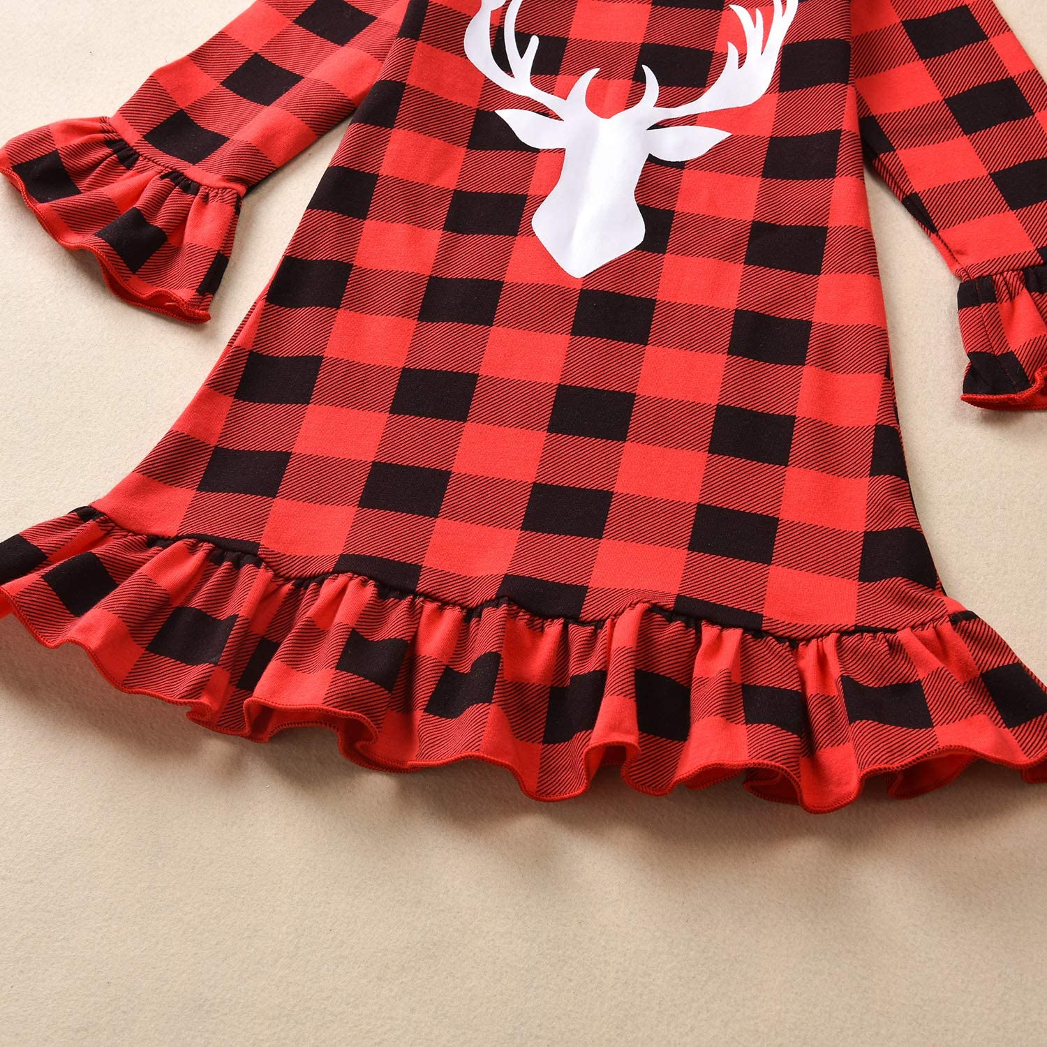 US Christmas Twin Baby Toddler Girls Red Blue Buffalo Plaid Ruffle Dress Outfit