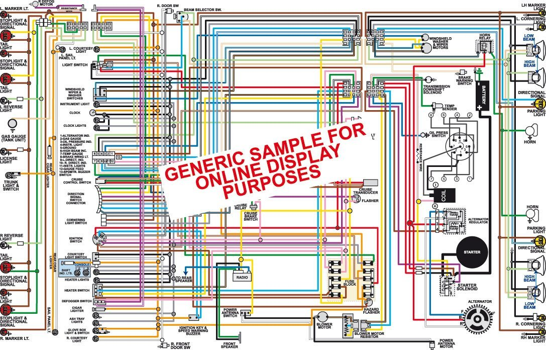 Full Color Laminated Wiring Diagram FITS 1970 1971 Chevy Nova Large on