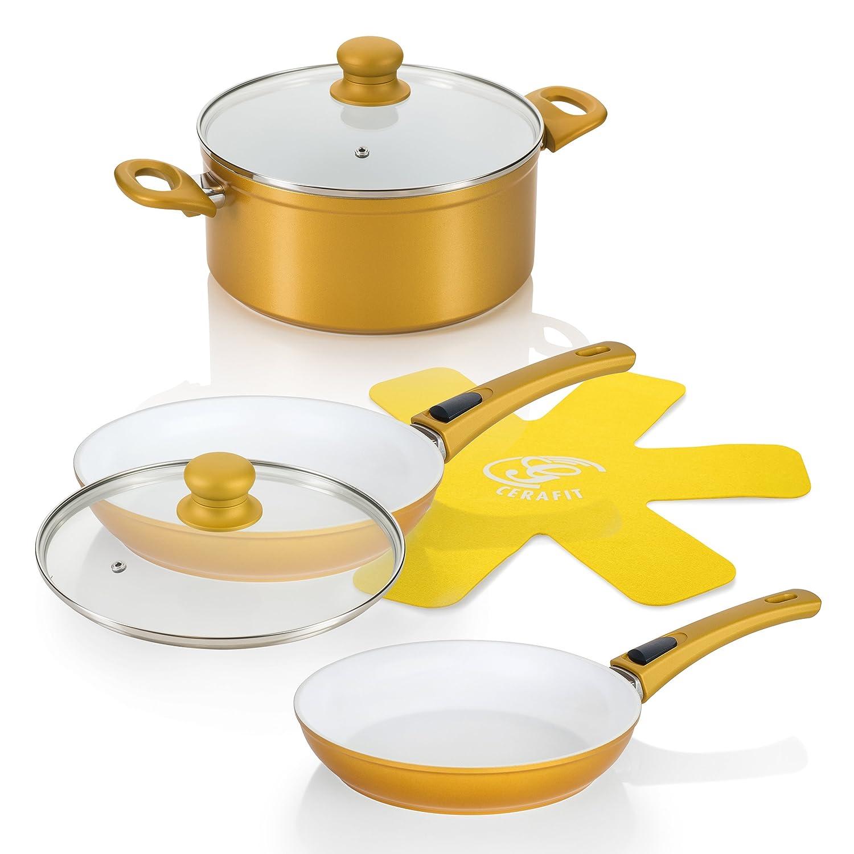 Genius - DIS1 Cerafit Deluxe Gold Edition 24491 piezas, sartenes cerámica UVP 185,95 €: Amazon.es: Hogar