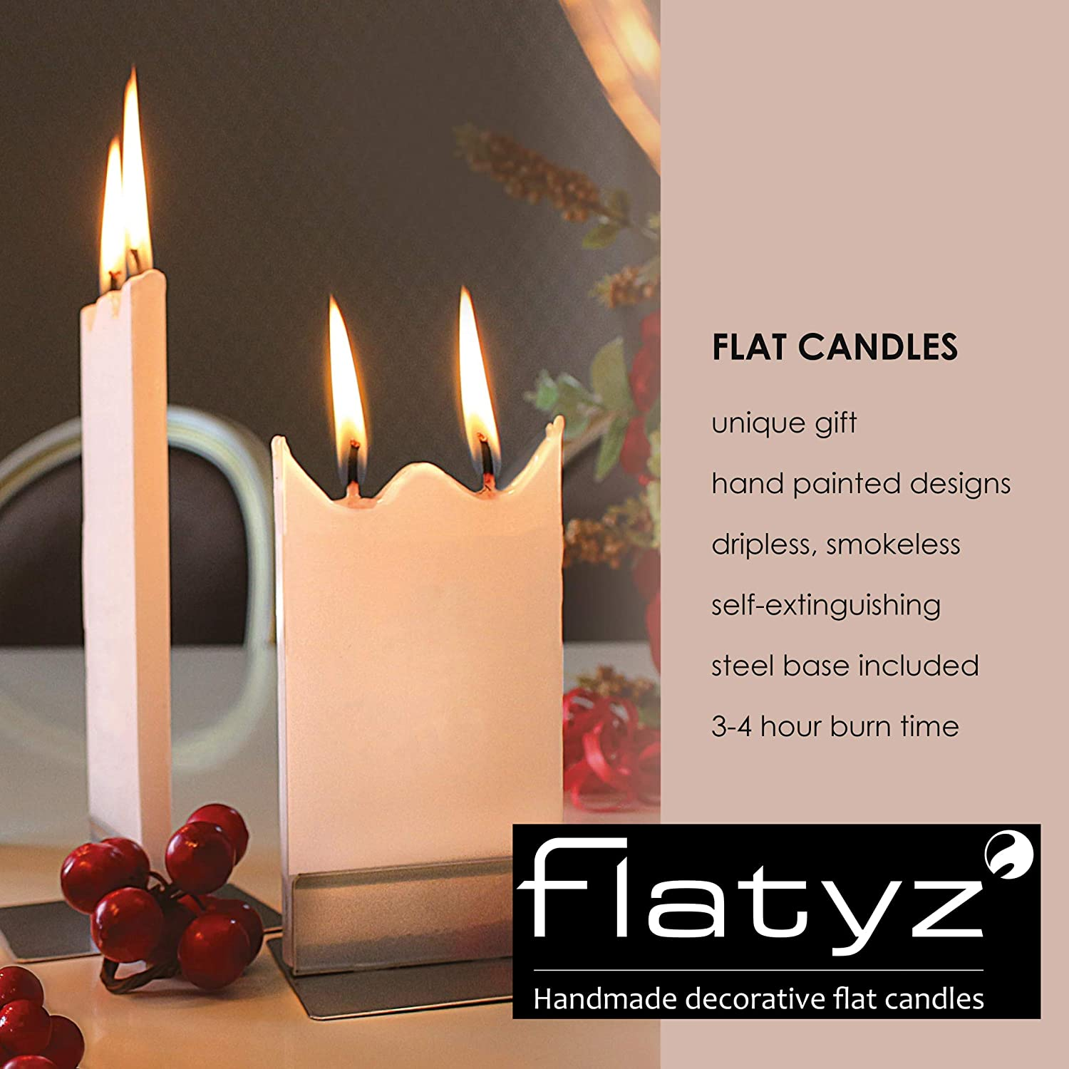 6 inches Hand Painted Candle Gifts for Women or Men Decorative Flatyz Christmas Candles Red and Green Ornament Design Flat