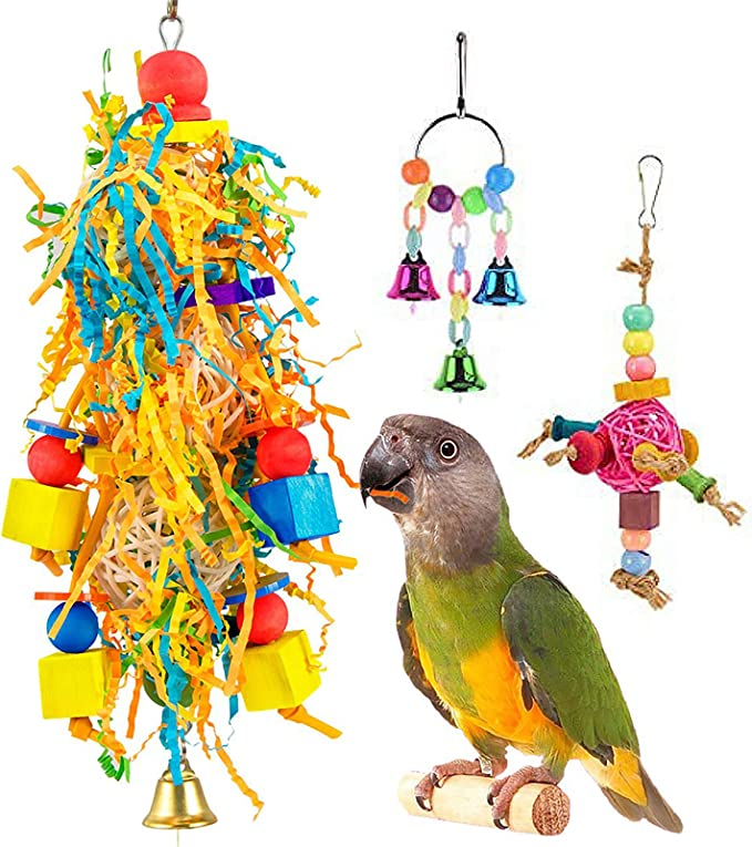10 Packs Bird Parrot Shredder Toy Foraging Hanging Cage Chew Toy Swing with Rings Parrot Foraging Hammock for Cockatiel Conure African Grey Parakeets Lewondr Bird Chewing Toys Colorful