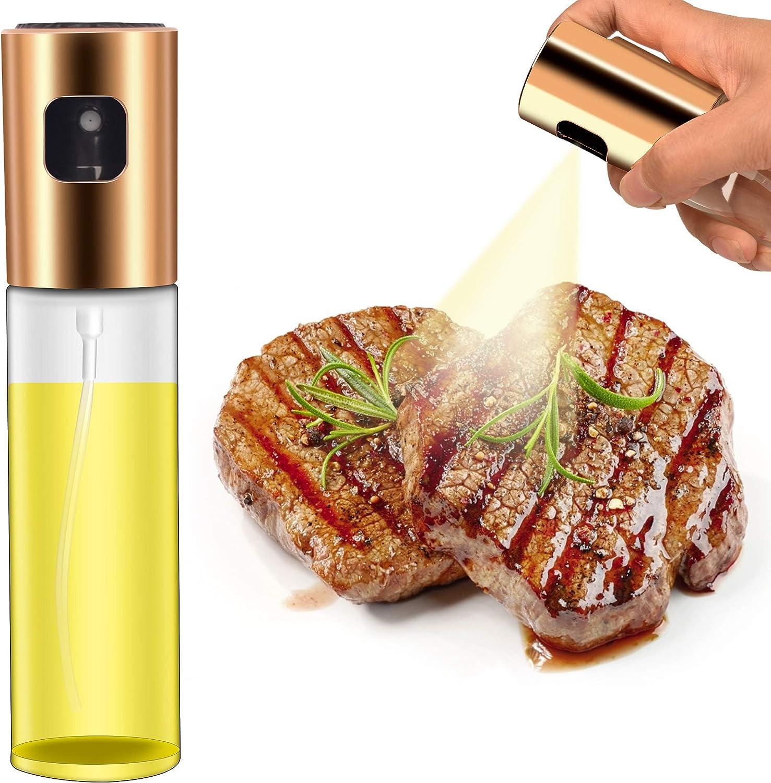 Mitlker Olive Oil Sprayer for Cooking,Kitchen Olive Oil Sprayer Mister,Food-Grade Glass Oil Spray Transparent Vinegar Bottle Oil Dispenser 100ml for Salad BBQ Frying Grilling Kitchen Baking Roasting