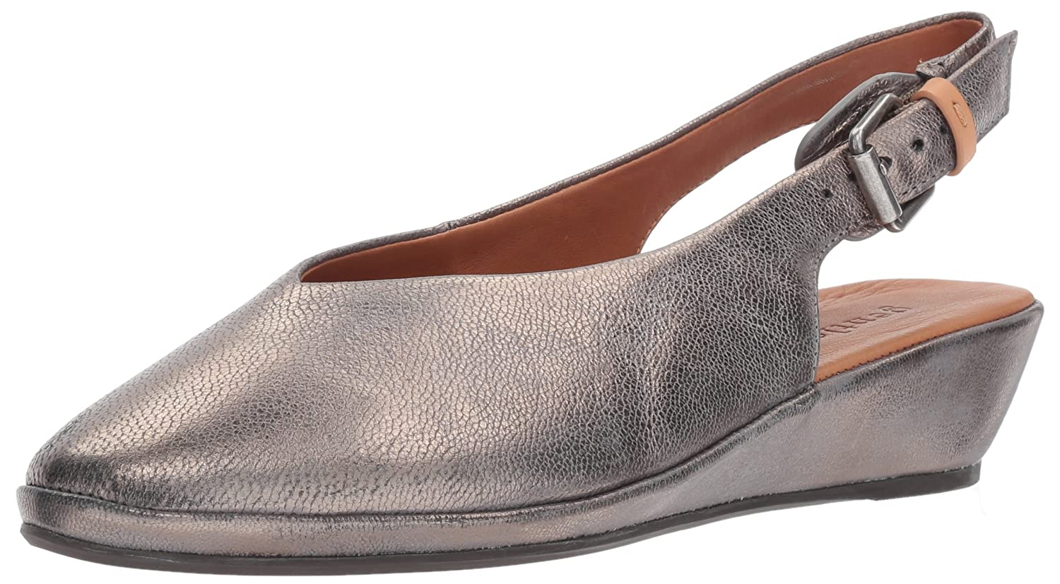 Gentle Souls by Kenneth Cole Women's Noemi Round Toe Low Wedge Slingback - Leather Flat B01NCZJWQS 7.5 B(M) US|Pewter
