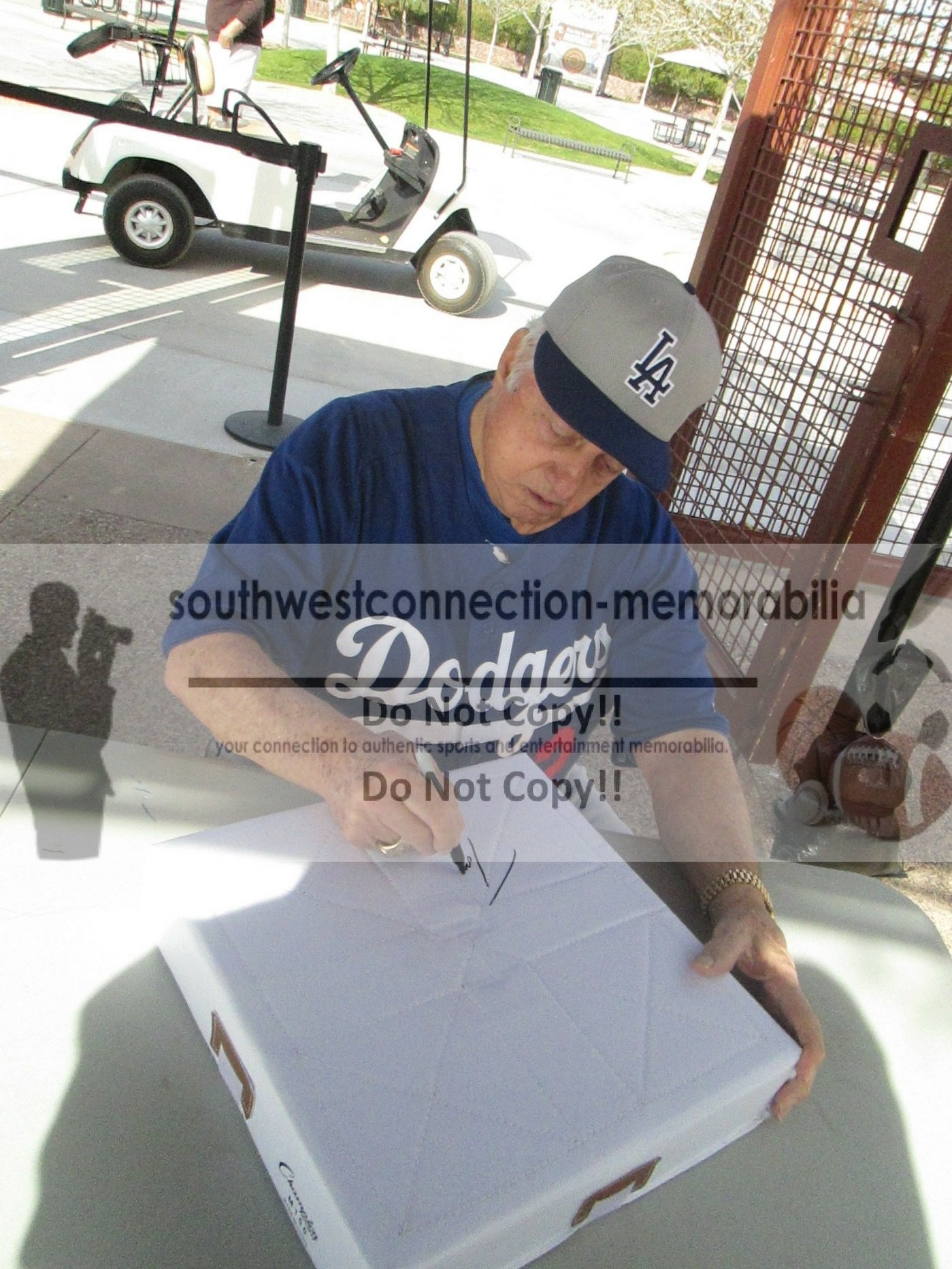 Los Angeles Dodgers Tommy Lasorda Autographed Hand Signed LA Dodgers 50th Anniversary Baseball Full Size Base with Proof Photo of Signing and COA