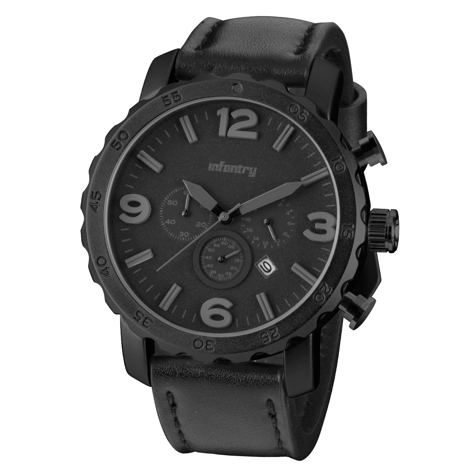 INFANTRY Mens GENUINE LEATHER Chronograph Military Analog Quartz Sport Watch Big Face All Black by Infantry