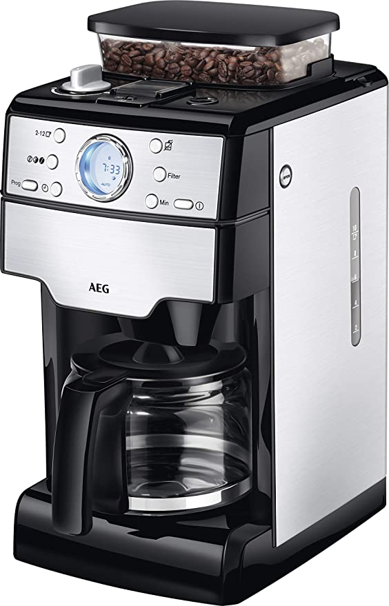 AEG KAM 400 Independiente, Cafetera de filtro, 1.25 L, Molinillo integrado, 1000 W, Negro, Acero inoxidable ...