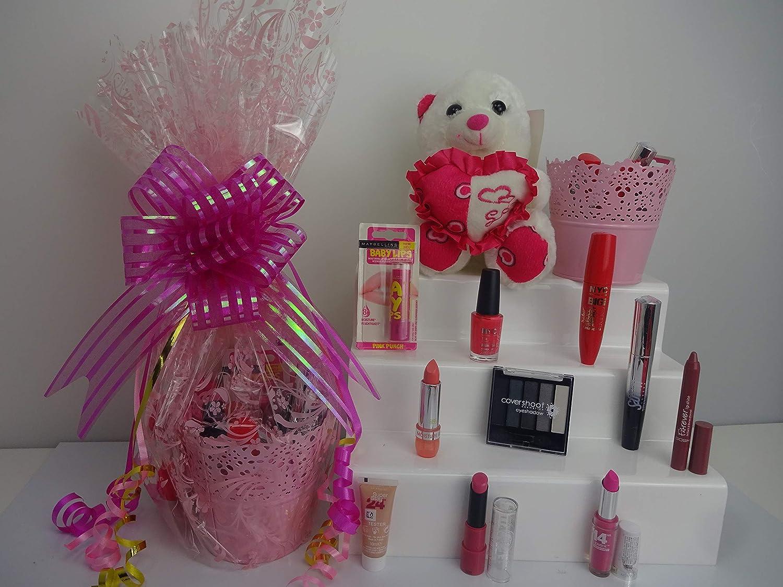 Gloria colgante y oso maquillaje cesta de regalo para ella, 11piezas