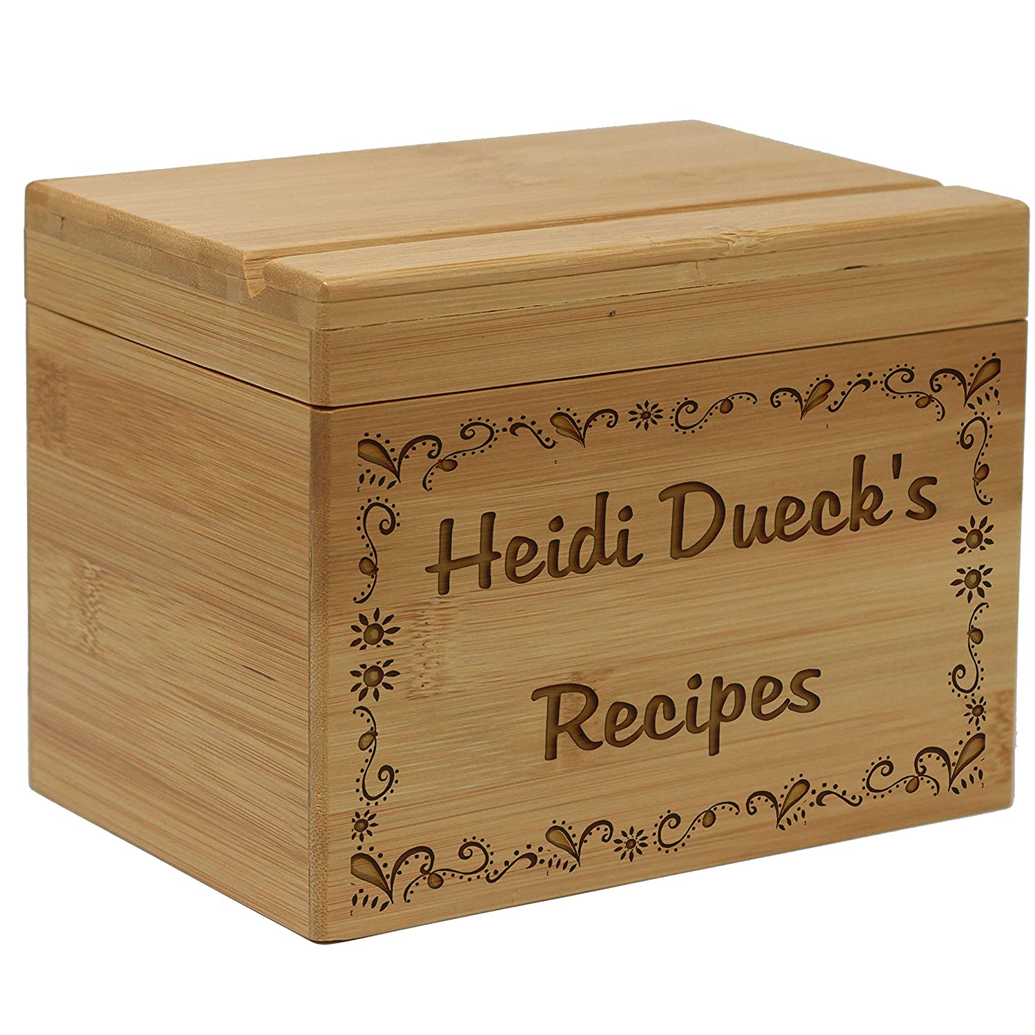 First And Last Name Personalized Recipe Box Gift With Recipe Cards
