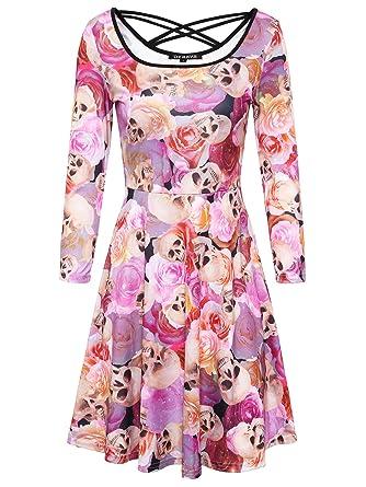 DKBAYA Vintage Kleid Damen mit Schädel und Rose Muster Floral Print ...
