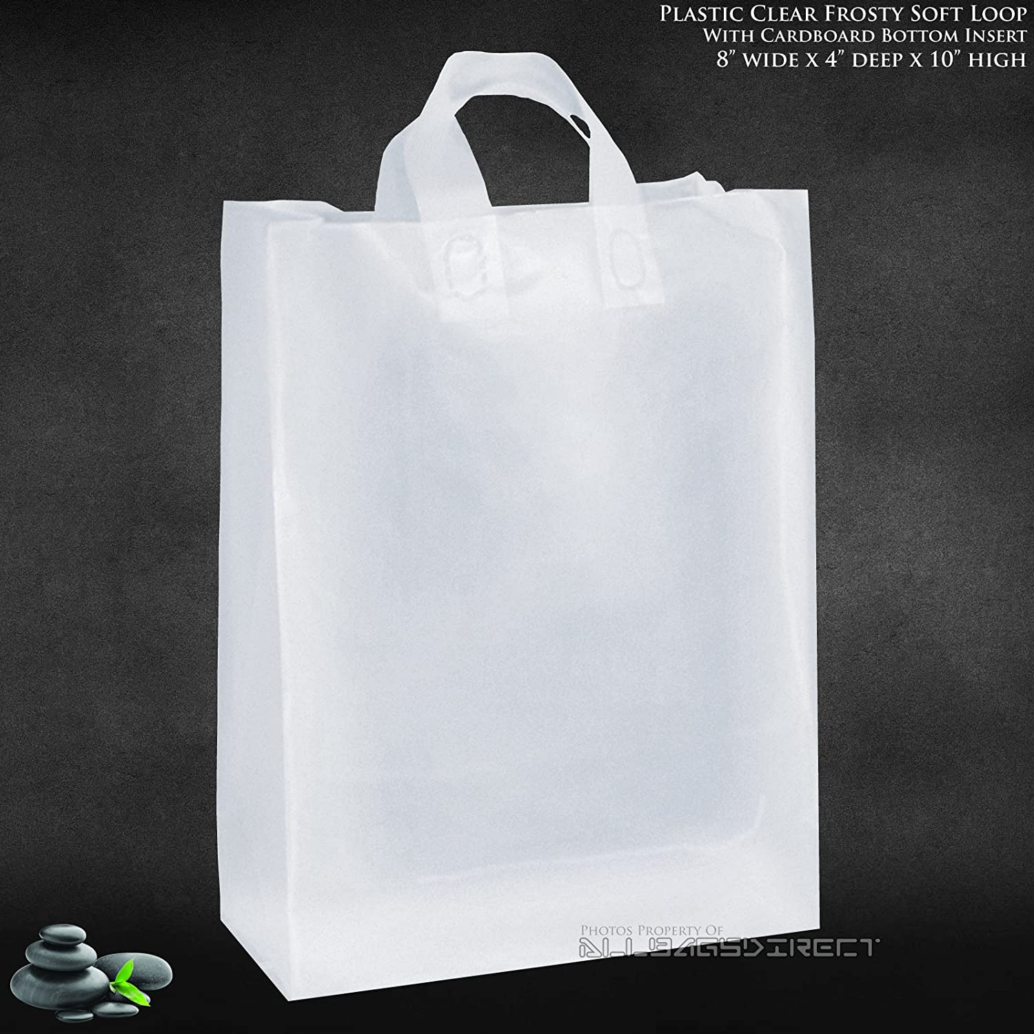 """Amazon.com: Medium Clear Frosted Plastic Shopping Bag • 8"""" X 5"""" X ..."""