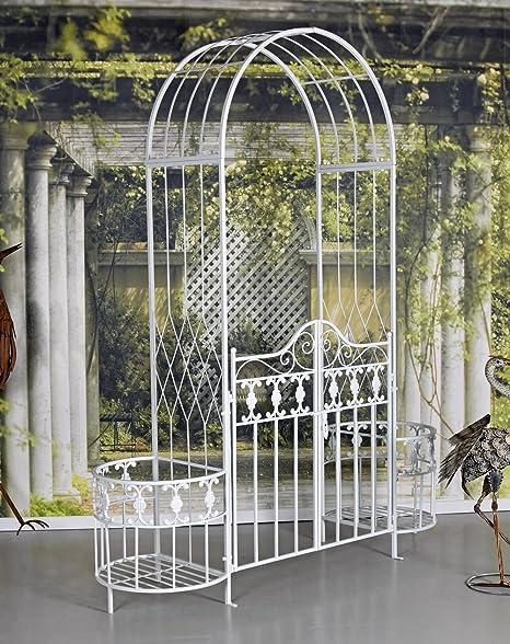 Arco de Puerta Blanco Toscana Puerta de Jardín Arco Rosas Pérgola Eisentor Portal Del Jardín Palazzo Exclusivo: Amazon.es: Jardín