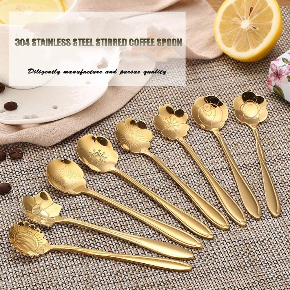 WDNMD Stainless Steel Desert Spoon Long Handle Coffee Spoons Set Flower Shape Dinner Spoon Smooth Curve Tea Spoon ZR-55 (Gold) by WDNMD (Image #2)