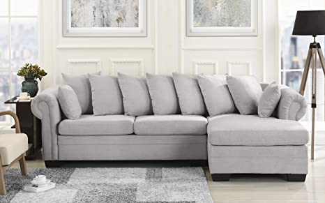 Modern Large Microfiber Sectional Sofa, L-Shape Couch with Extra Wide  Chaise Lounge (Light Grey)