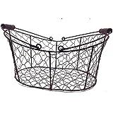 Rustikaler geschwungener Drahtkorb - groß - für Dekorationen, Blumen oder als Hanging-Basket - Breite 34,5 cm