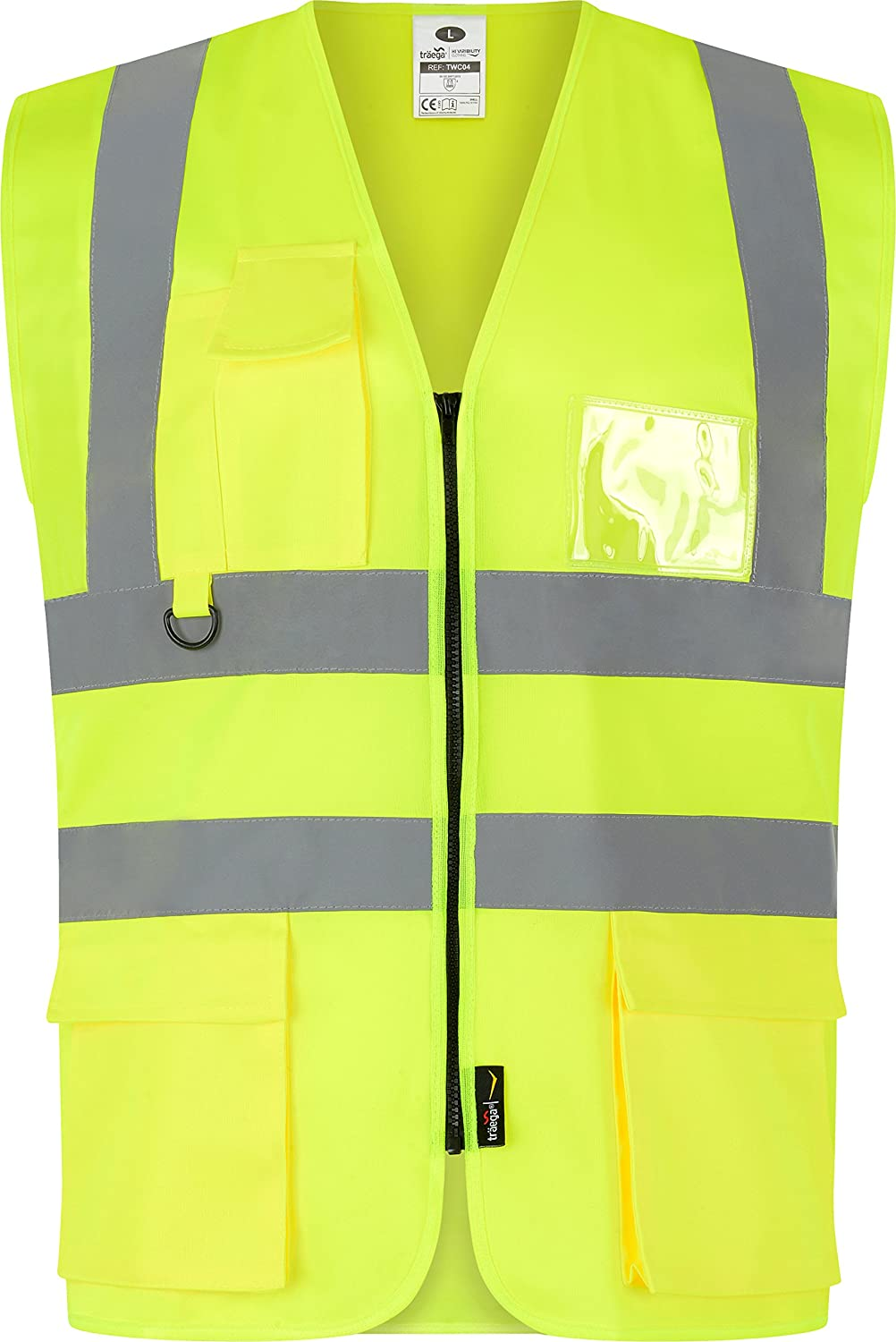XL 46-48 Chest Zipped Yellow Safety Vest X 1 All Sizes Quality Yellow Hi Vis Executive Zip Up Vest