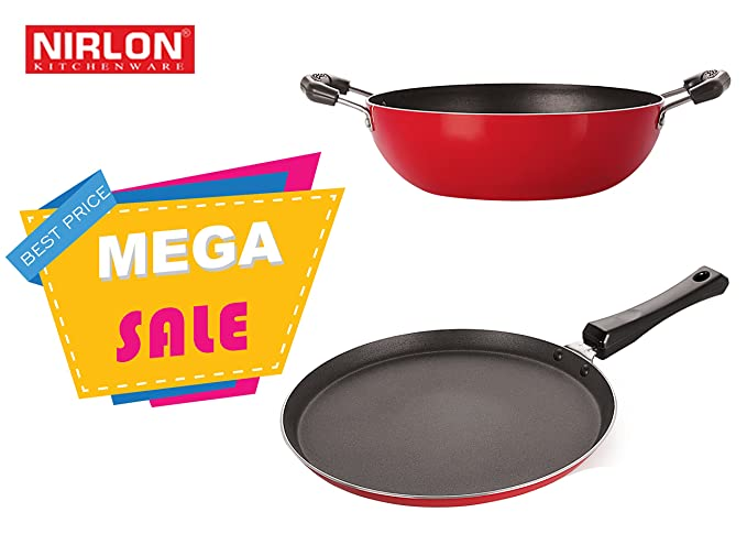 Nirlon Non-Stick Aluminium Cookware Set, 2-Pieces, Red (2.6mm_FT13_KD13) Pot & Pan Sets at amazon